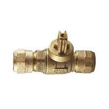 "203NL-H3H3 Brass Curbstop, with Drain, Ball Style, Full port, No-lead, 3/4"" CB Compression x 3/4"" CB Compression"